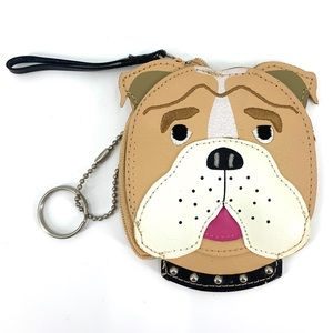 ROLFS Coin Purse Bulldog Leather Side Zip Key Ring